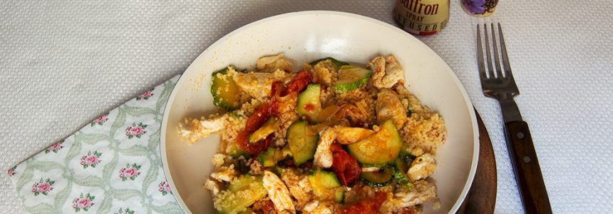 Saffron couscous with chicken and vegetables